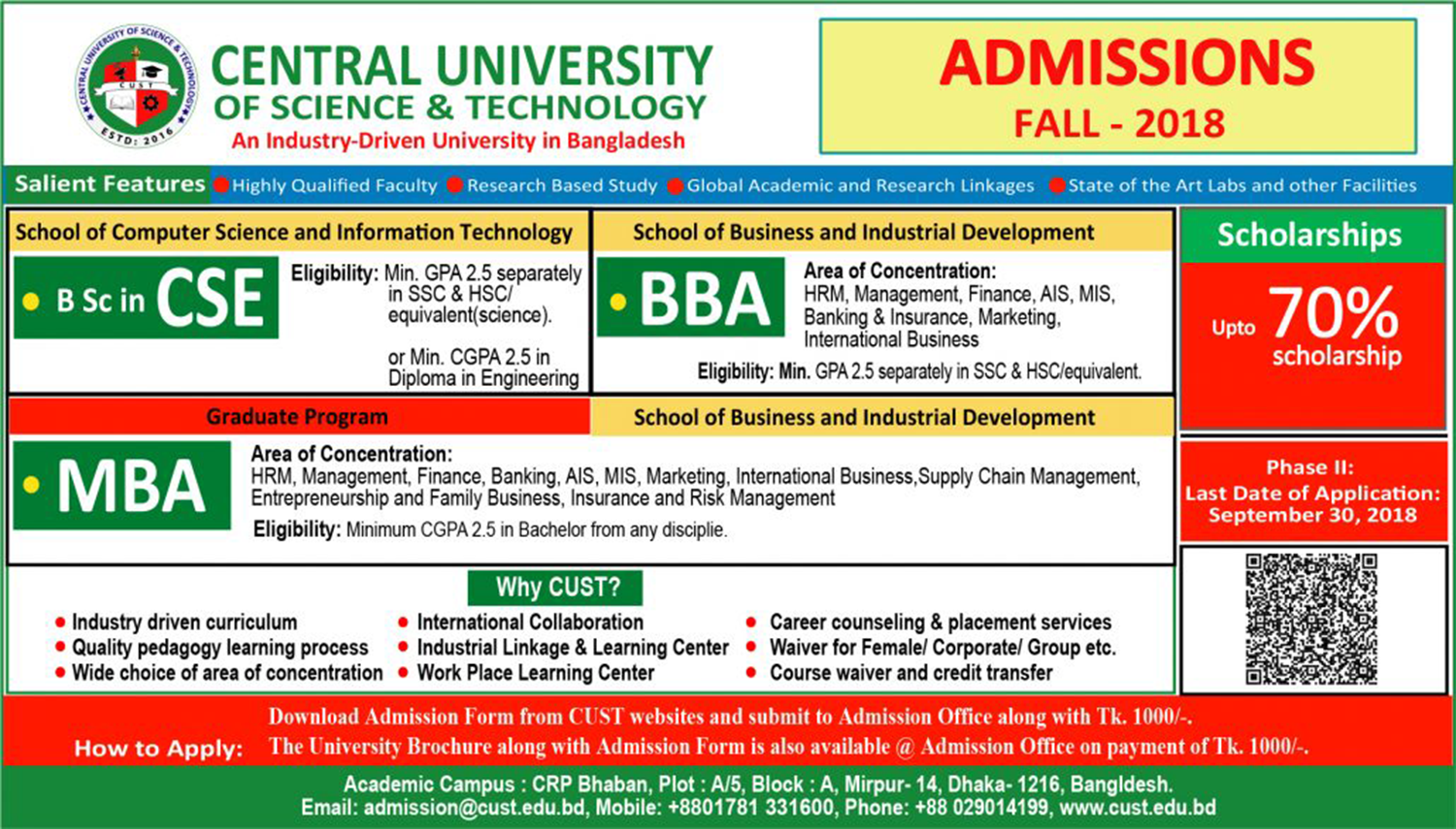 Admission Open, Fall (Bijoy) 2018